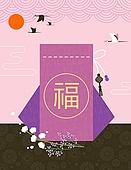 새해 (홀리데이), 축하이벤트 (사건), 2019년, 프레임, 전통문화 (주제), 한국전통, 복, 두루미, 복주머니 (한국문화), 전통문양