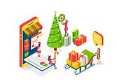 크리스마스, 연말, 상업이벤트 (사건), 쇼핑 (상업활동), 세일 (사건), 선물 (인조물건), 아이소메트릭, 크리스마스데코레이션 (장식품), 크리스마스트리 (크리스마스데코레이션), 스마트폰, 모바일쇼핑, 쇼핑카트 (소매업장비), 신용카드, 썰매 (레크리에이션장비)