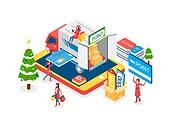 크리스마스, 연말, 상업이벤트 (사건), 쇼핑 (상업활동), 세일 (사건), 선물 (인조물건), 아이소메트릭, 크리스마스데코레이션 (장식품), 크리스마스트리 (크리스마스데코레이션), 트럭 (육상교통수단), 스마트폰, 배달 (일), 마일리지 (금융)