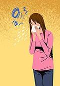 건강관리 (주제), 고통 (컨셉), 질병 (건강이상), 고통, 재채기, 여성 (성별), 코감기 (감기), 축농증 (감기)