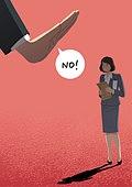 편견 (사회현상), 성차별 (편견), 성차별, 여성 (성별), 스트레스, 말풍선, 거부 (정지활동), 거절 (컨셉), 비즈니스우먼