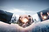 비즈니스, 비즈니스맨, 파트너십 (팀워크), 함께함 (컨셉), 고층빌딩 (회사건물), 악수