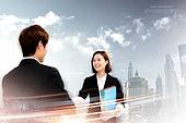 비즈니스, 비즈니스맨, 파트너십 (팀워크), 함께함 (컨셉), 고층빌딩 (회사건물), 악수, 비즈니스우먼