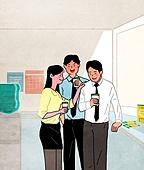 휴식, 비즈니스, 화이트칼라 (전문직), 사무실, 비즈니스맨, 비즈니스우먼, 커피 (뜨거운음료), 탕비실, 동료 (역할), 위로