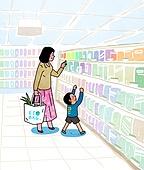라이프스타일, 캠페인, 환경보호 (환경), 환경보호, 라이프스타일 (주제), 환경 (주제), 장바구니, 비닐봉투 (가방), 슈퍼마켓 (가게), 전업아내 (고정관념), 에코백