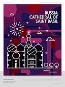 랜드마크 (묘사), 포스터, 여행, 세계여행, 패턴, 기하학모양 (도형), 러시아 (지리적인장소), 러시아문화 (세계문화), 상크트바실리대성당