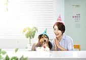 가족, 반려동물 (길든동물), 개 (개과), 강아지, 실내, 행복