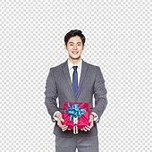 PNG, 누끼, 한국인, 20-29세 (청년), 한명, 선물 (인조물건), 남성