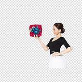 PNG, 누끼, 한국인, 여성, 20-29세 (청년), 한명, 선물 (인조물건)