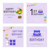 웹템플릿, 벡터파일 (일러스트), 배너 (템플릿), 팝업, 축하이벤트 (사건), 생일, 축하 (컨셉), 케이크 (달콤한음식), 선물상자, 가랜드 (장식품), 돌잔치