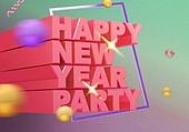 새해 (홀리데이), 새해첫날 (새해), 문자 (문자기호), 2019, 돼지띠해 (십이지신), 그래픽이미지 (Computer Graphics), 금색 (색상)