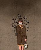 건강관리 (주제), 재앙 (컨셉), 비상사태와재난 (주제), 스모그 (대기오염), 초미세먼지, 대기오염, 환경오염, 마스크 (방호용품), 기침, 여성 (성별), 비즈니스우먼, 기침 (움직이는활동), 캘리그래피 (문자)