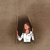 건강관리 (주제), 재앙 (컨셉), 비상사태와재난 (주제), 스모그 (대기오염), 초미세먼지, 대기오염, 환경오염, 어두움 (색상강도), 어두운표정, 걱정, 커튼 (데코르), 창문 (인조물건), 여성 (성별)