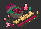 크리스마스, 연례행사 (사건), 상업이벤트 (사건), 겨울, 타이포그래피 (문자), 아이소메트릭 (구도), 세일 (사건), 선물 (인조물건), 선물상자, 크리스마스트리 (크리스마스데코레이션)