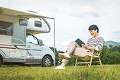 캠핑 (아웃도어), 책, 읽기 (응시), 미소, 혼자여행 (여행), 남성