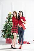 여성, 크리스마스, 친구, 미소, 즐거움, 쇼핑백, 어깨에올리기 (운반)