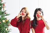 여성, 크리스마스, 친구, 미소, 즐거움, 크리스마스오너먼트 (크리스마스데코레이션)