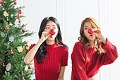 여성, 크리스마스, 친구, 즐거움, 크리스마스오너먼트 (크리스마스데코레이션)
