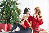 여성, 크리스마스, 친구, 미소, 즐거움, 크리스마스오너먼트 (크리스마스데코레이션), 등맞대기, 선물 (인조물건), 선물상자