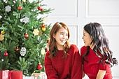 여성, 크리스마스, 친구, 미소, 즐거움, 마주보기 (위치묘사)
