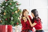 여성, 크리스마스, 친구, 미소, 즐거움, 크림 (유제품), 사람코 (주요신체부분), 묻힘 (상태)