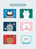 겨울,크리스마스, 캐릭터, 배너, 씰