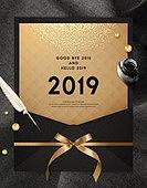 금 (금속), 검정색 (색상), 2019, 연하장 (축하카드), 연례행사 (사건), 새해 (홀리데이)