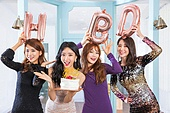 여성, 파티, 드레스, 즐거움, 친구 (컨셉), 생일 (사건)