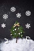 백그라운드, 겨울, 크리스마스, 눈 (얼어있는물), 눈가루, 크리스마스오너먼트 (크리스마스데코레이션), 가지 (식물부분), 잎 (식물부분), 나무, 눈송이 (눈), 사슴 (발굽포유류)