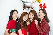여성, 크리스마스, 파티, 친구 (컨셉), 선물상자, 즐거움