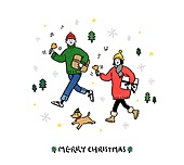 크리스마스 (국경일), 축하이벤트 (사건), 캘리그래피 (문자), 겨울, 커플, 남성 (성별), 여성 (성별), 스웨터 (상의), 강아지