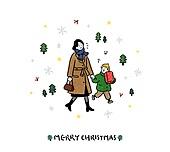 크리스마스 (국경일), 축하이벤트 (사건), 캘리그래피 (문자), 겨울, 부모, 엄마, 아들, 선물 (인조물건)