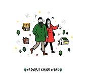 크리스마스 (국경일), 축하이벤트 (사건), 캘리그래피 (문자), 겨울, 커플, 상점, 외투 (의복), 데이트