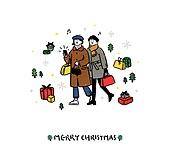 크리스마스 (국경일), 축하이벤트 (사건), 캘리그래피 (문자), 겨울, 친구, 여성 (성별), 선물 (인조물건), 음표