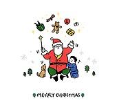 크리스마스 (국경일), 축하이벤트 (사건), 캘리그래피 (문자), 겨울, 어린이 (인간의나이), 아기 (인간의나이), 강아지, 산타클로스 (가상존재), 마술 (컨셉)