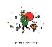 크리스마스 (국경일), 축하이벤트 (사건), 캘리그래피 (문자), 겨울, 루돌프, 어린이 (인간의나이), 고양이 (고양잇과)