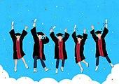 학생, 고등학생, 졸업, 기쁨, 졸업가운, 학사모, 꽃가루, 점프, 학위증서 (증명서), 구름, 하늘, 친구, 축하이벤트 (사건)