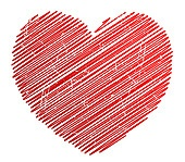 Abstract grunge heart in red color