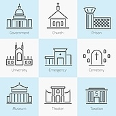 Set of government buildings church prison hospital flat line icons in gray color on squares