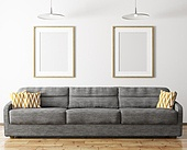 Modern interior design of living room with sofa and mock up frames 3d rendering
