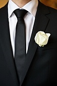 white rose on the suit