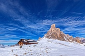 snow landscape of Passo Giau, Dolomites, Italy. winter landscape of Passo Giau, Dolomites, Italy