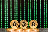 three bitcoins with numbers in backgrounds. three bitcoins with sequence of green numbers in background