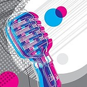 Designed banner with microphone and retro graphic elements