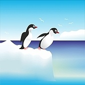 penguins have fun standing on the rocks in Antarctica . penguins