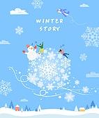 일러스트, 계절, 겨울, 풍경 (컨셉), 플레이 (움직이는활동), 상업이벤트 (사건), 눈송이, 눈사람