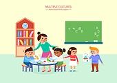 여러민족 (인종), 공동체 (컨셉), 어린이 (인간의나이), 교육 (주제), 유치원, 유치원생