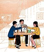 회식, 술 (음료), 술취함 (물체묘사), 정장, 라이프스타일, 건배, 즐거움 (컨셉)