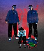 괴롭힘 (사회현상), 교육 (주제), 십대 (인간의나이), 어두운표정 (감정), 왕따, 우울, 학교폭력, 반항청소년 (역할)