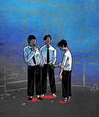 괴롭힘 (사회현상), 교육 (주제), 십대 (인간의나이), 어두운표정 (감정), 왕따, 우울, 학교폭력, 반항청소년 (역할), 흡연 (주제)